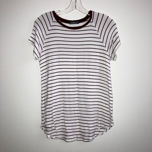 Cotton on T-shirt, maroon/burgundy and white